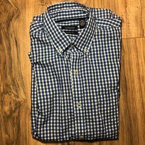 Van Heusen Short Sleeve S 14-14 1/2 Blue Plaid